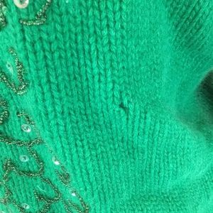 Miss Boutique Sweaters - Vtg 1950's Miss Boutique Beaded Green Sweater 14